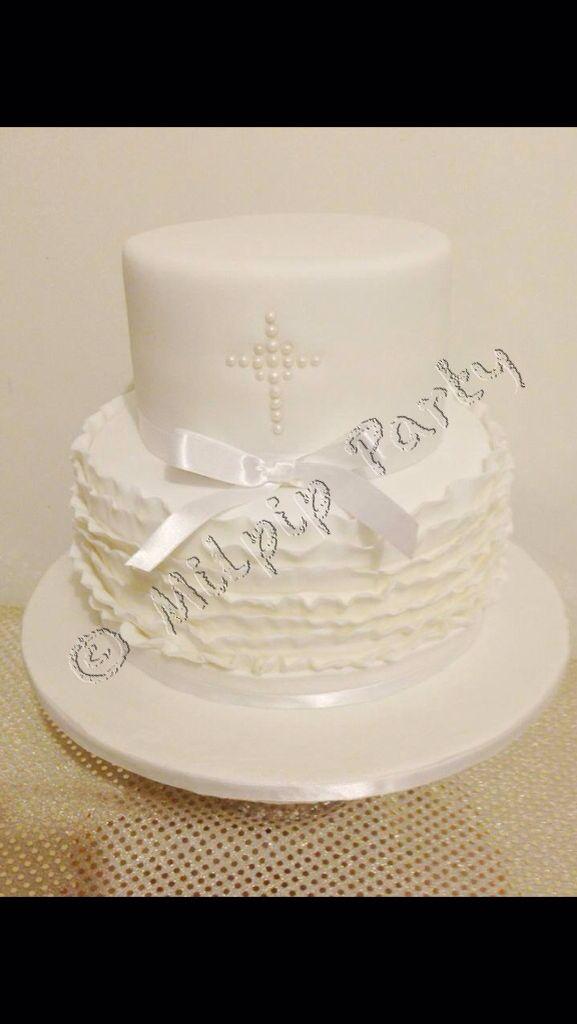 All White Ruffled Christening Cake..