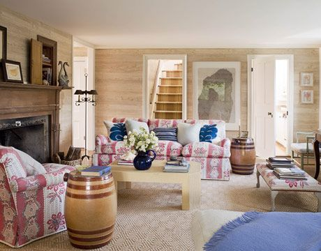 """French-American Family Room. Strong reds and blues visually anchor this family room...""  [I love the look of the barrels!! But wow, this has to be a dark room at night; only 1 small lamp and no overhead lights.]: Toms Scheerer, Decor Ideas, Living Rooms, Fake Wood, Beaches Families, Interiors Design, Family Rooms, Fabrics, Families Rooms Design"
