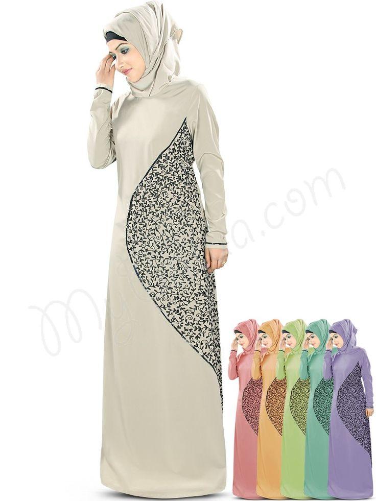Hena Abaya   MyBatua   http://www.mybatua.com/womens/abaya NOTE: this kind of asymmetric embroidery or lace addition could also help conceal adding length