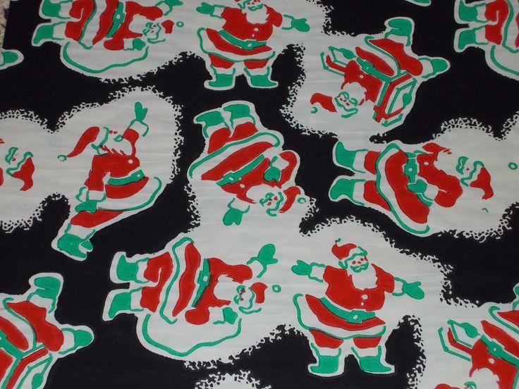 VTG CHRISTMAS WRAPPING PAPER GIFT WRAP NOS RED GREEN SANTA ON BLACK ATOMIC 1950 | eBay