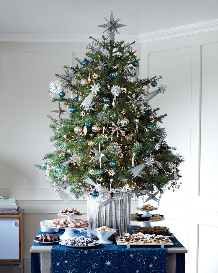 Think outside the box (or rather, below the treetop) by adding starry ornaments throughout your Yuletide evergreen. In keeping with the metallic mode, the container is made from silver-sprayed twigs glued to a round pot. A splendidly decked-out concolor fir, enticing displays of cookies, and a crossed pair of linen runners painted with stars -- who knew an entire holiday universe could exist on a tabletop? Use our template to stencil your own.