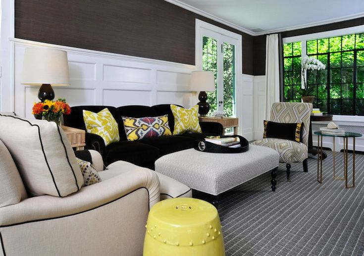 Muse Interiors Beautiful brown & yellow living room design with chocolate brown ...