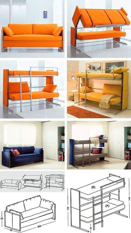 OMFG!!! My dreams come true!!!!!   Move over hide-a-bed, pull-out couch-beds: get stuffed. The Doc is a simply named convertible sofa that expands into not one but two beds in one: a pair of bunk beds as simple and elegant as the name would suggest. With a variety of color styles and textures this makes a great couch even without the added bonus of being a brilliant piece of transforming furniture. (http://www.techeblog.com/index.php)