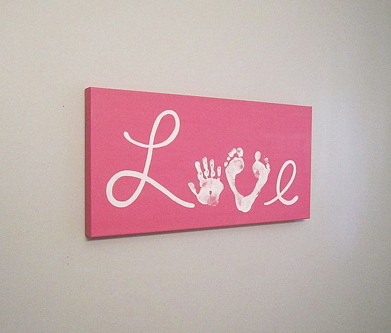 "Love Handprint and Footprint Canvas Art with Print Kit, Any Color, 12x24"", by SnowFlowerArts, $40.00"