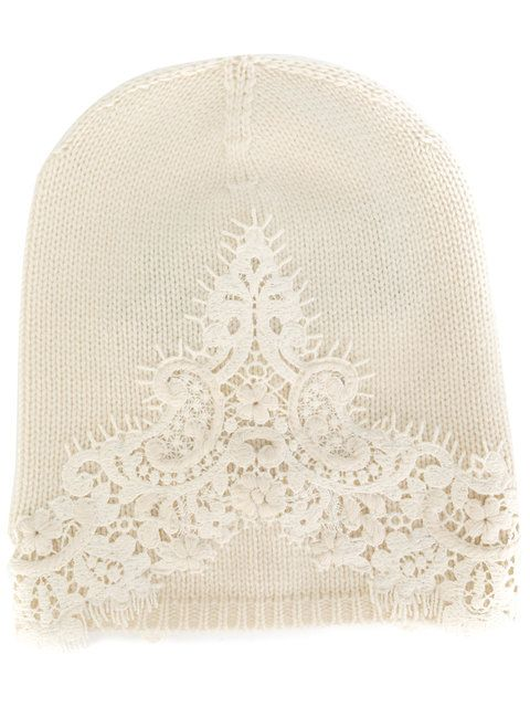 Ermanno Scervino lace insert knitted beanie