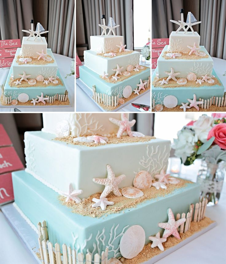 #vabeachwedding Virginia Beach Wedding Photographer - Adrian & Matt - Beach themed wedding cake