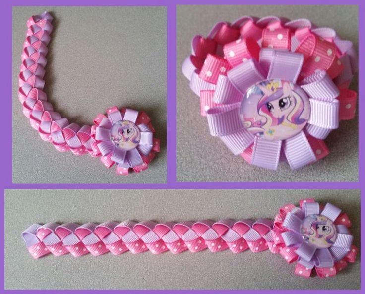 My Little Pony Hair Bow Ribbon Bun Wrap #A7 (you choose image and ribbon colors)