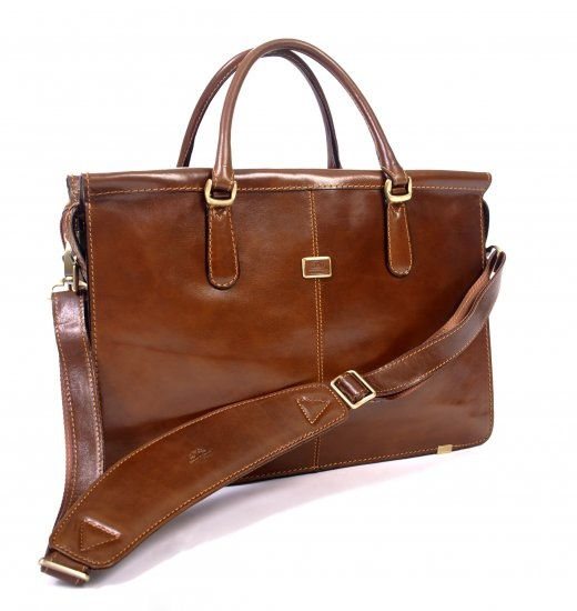 """Our top selling woman's leather briefcase, handmade Italian leather briefcase that offers style and function. Two zippered expandable compartments: a padded, 17"""" laptop compartment and a second, large interior pocket for necessities. This bag features both top double handles and a removable/adjustable shoulder strap for versatility."""