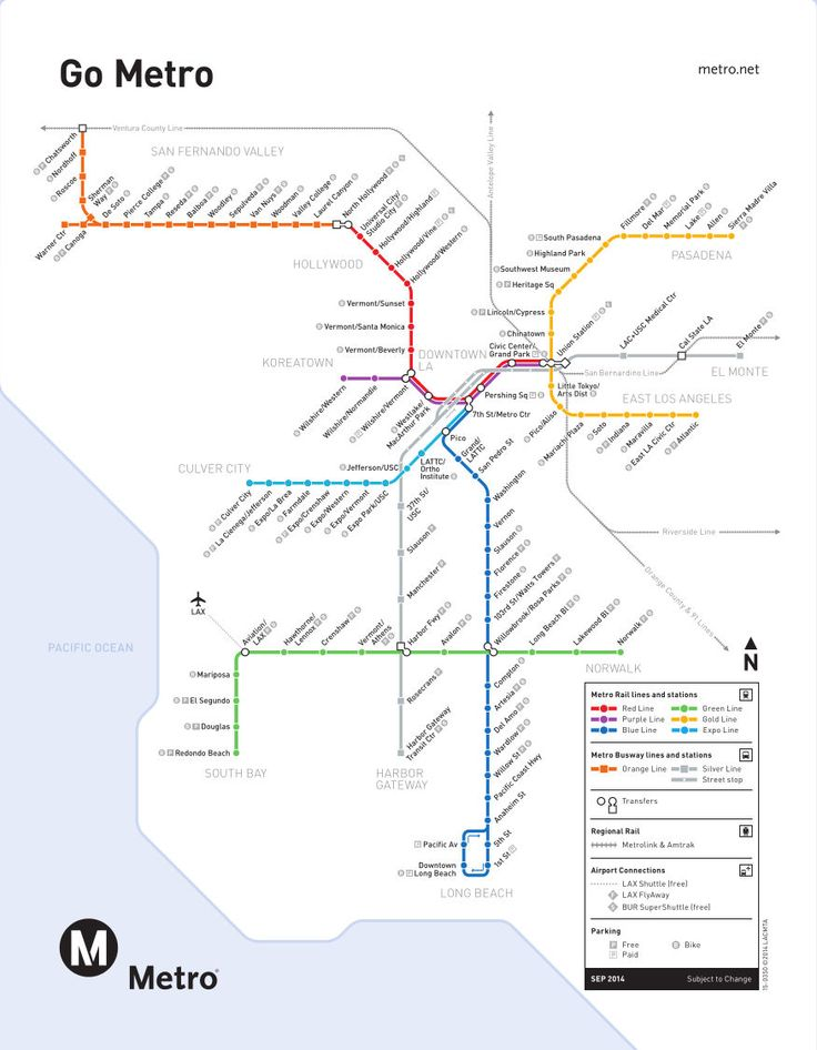 Mappa di Metro Rail di Los Angeles, Stati Uniti La metropolitana di Los Angeles fa parte della rete di trasporto pubblico gestito dal County Metropolitan Transportation Authority di Los Angeles (LACMTA acronimo). Conosciuto come Metro Rail attualmente la metropolitana di Los Angeles ha sei linee, 140,5 km di binari (2012), 70 stazioni e circa 325.000 passeggeri al giorno. Integrato col treno suburbano (Metro Link).