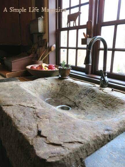 Main floor bathroom Stone sink on barn board counter top                                                                                                                                                     More
