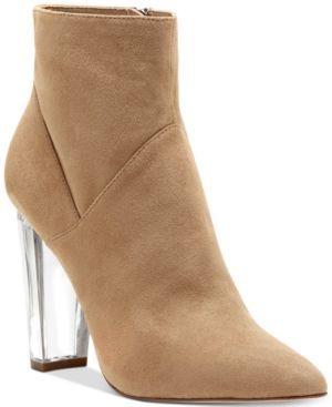 Jessica Simpson Tarek Lucite-Heel Booties - Tan/Beige 9.5W