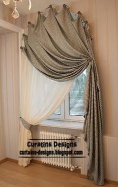 arched doorway drapery treatment, use finials to follow doorway arch across the whole top only (not down the sides), then mirror shape over window on the other side, then pull drape to outside of doorway near top, use heavy weight velvet fabric for noise dampening into hallway