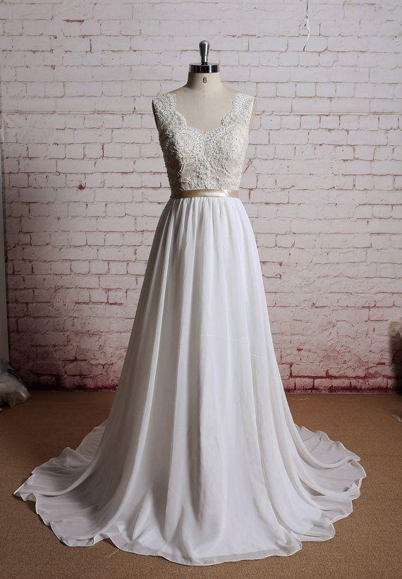 Beading Bodice Wedding Dress Sexy Wedding Dress by LaceBridal