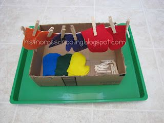 """Cute center activity to connect with """"The Three Little Kittens""""  (H is for Homeschooling: Mitten Tot Trays)"""