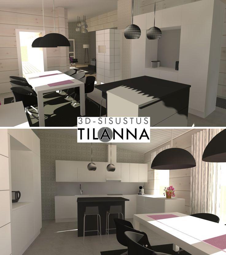 3D - sisustussuunnittelu / valkovahatun hirsitalon valko-musta keittiö, log house, white and black kitchen / 3D-sisustus Tilanna, sisustussuunnittelija Jyväskylä
