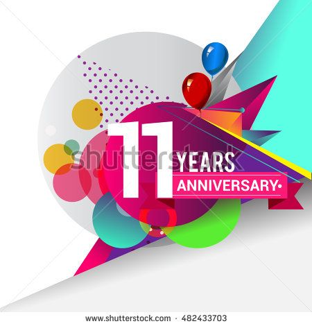 11 years Anniversary logo, Colorful geometric background vector design template…