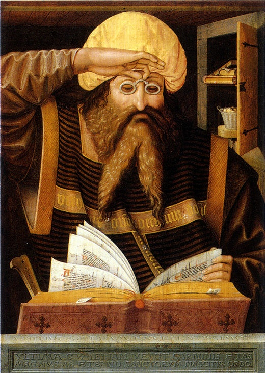 Roman poet Dichter Vergil (70-19 B.C.) by Ludger tom Ring the Elder (1496-1547), Westfalisches Landesmuseum fur Kunst und Kultureschichte Munster, circa 1530. (wonderful anachronism of the eyeglasses).