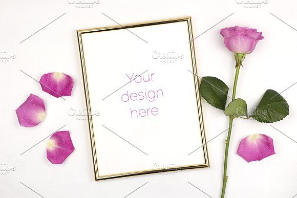 Mockup - Gold Frame with Rose by Kreanille Design on @creativemarket