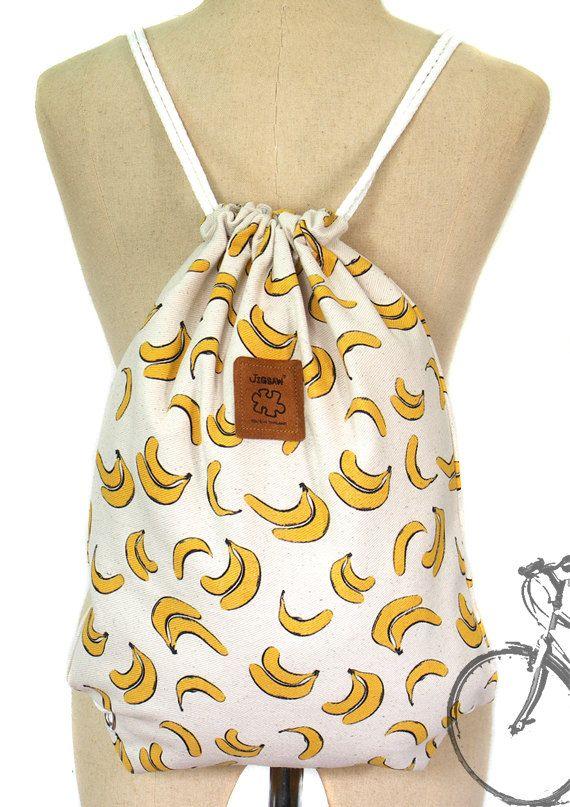 Banana drawstring bag Canvas Cotton Backpack Hip bag por YourBags