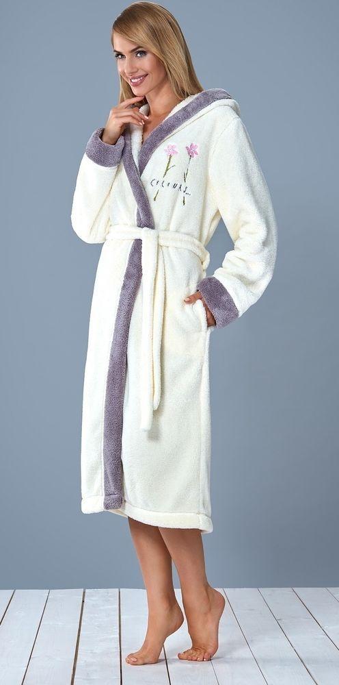 peignoir long Luxe ecru femme doux confort capuche ADEL L&L Pillou Polaire