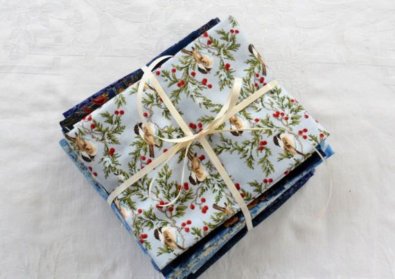 VERY GENEROUS CUT Blue Fat Quarter Bundle of Vintage Quilters Cotton Fabrics/Buy 10 and Get 11th Free/Variety of Blues and Prints