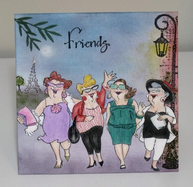 Art Impressions Uptown Girls Set (Sku#4129) ... Girlfriends On the Town in Paris handmade card.