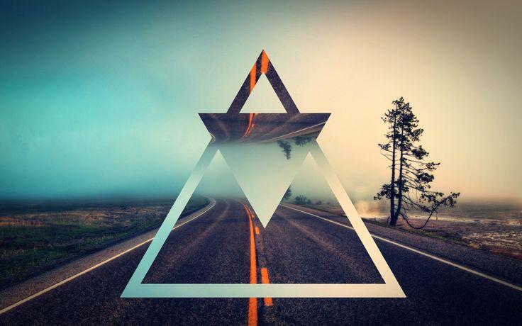 Triangles Reflecting The Road Digital Art Hd Wallpaper     X