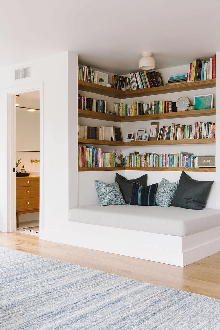 Reverse corner library to connect the office and living room – # #angl