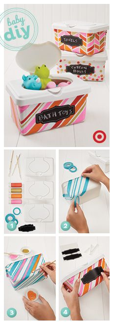 DIY: Stay organized by reusing baby wipes tubs for toys, pacifiers & more.