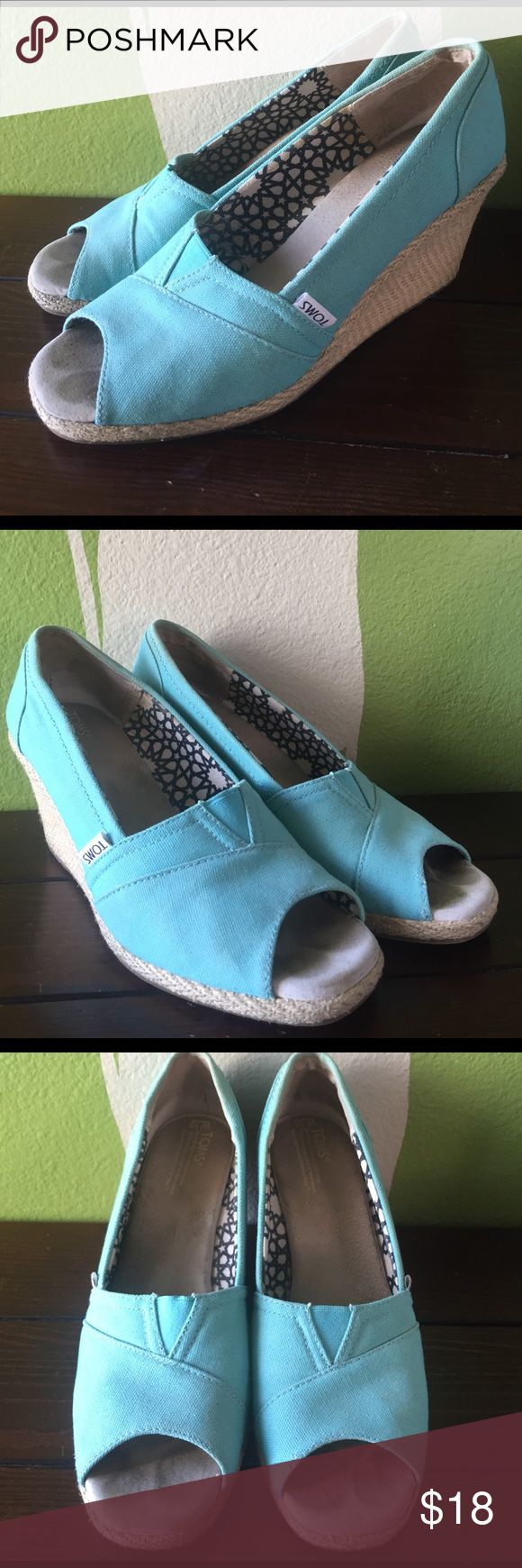 "TOMS turquoise wedges, size 10, 3.5"" heel TOMS turquoise wedges, size 10, 3.5"" heel, good used condition. TOMS Shoes Wedges"