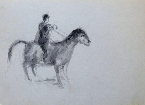 THE HORSEMAN original drawing Rider Animal by CyranoArtGallery