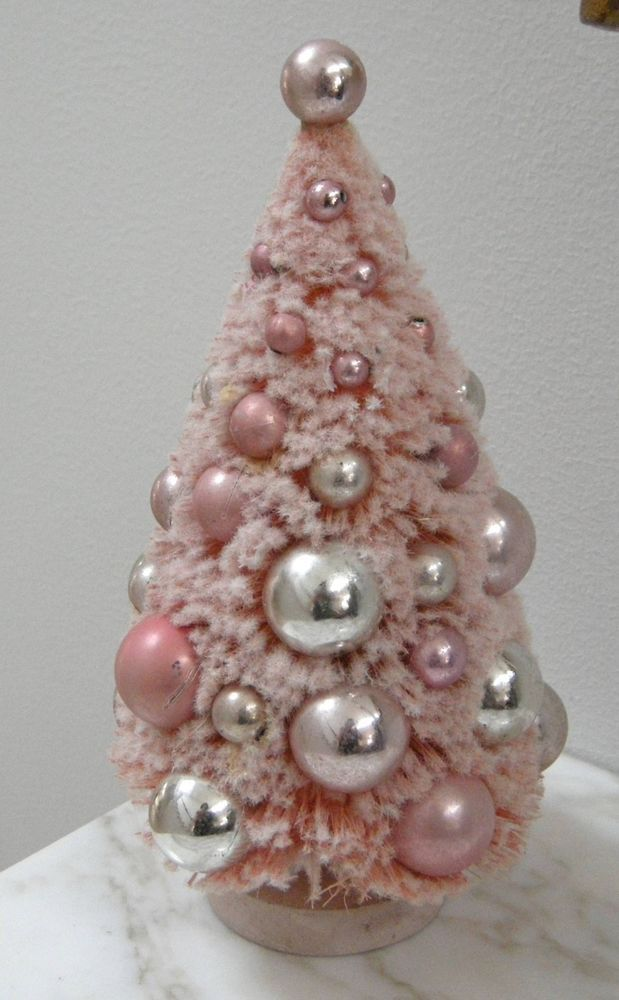 Vintage Bottle Brush Flocked Pink Christmas Tree Ornaments Bottle Brush Christmas Trees Pink Christmas Tree Pink Bottle