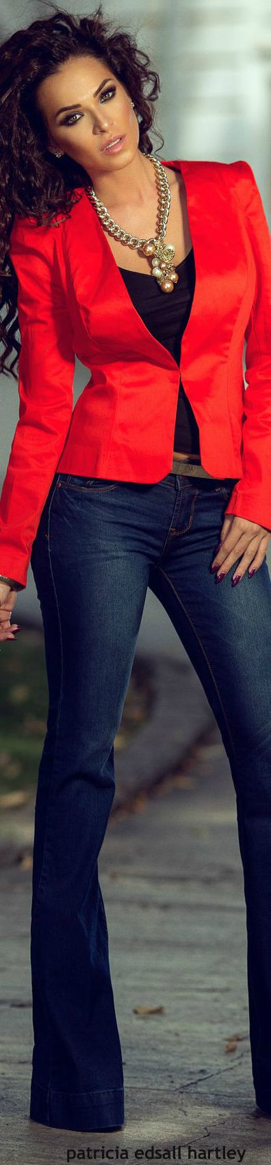 Red blazer and statement necklace