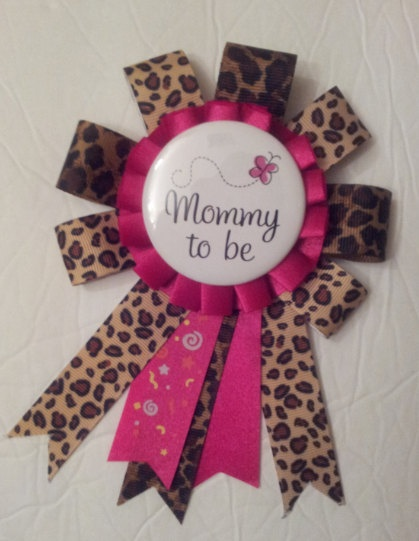 Leopard and Hot Pink Mommy To Be / Baby Shower Corsage Pin. $14.00, via Etsy.