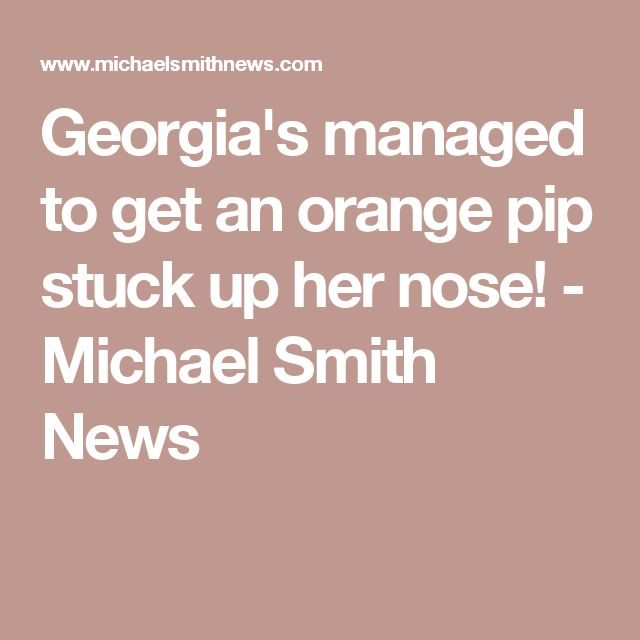 Georgia's managed to get an orange pip stuck up her nose! - Michael Smith News
