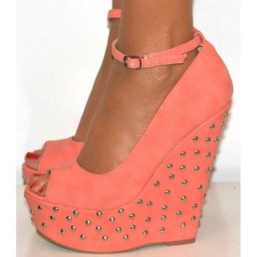 .: Shoes, Studs Wedges, Platform Wedge, Peaches, Summer Colors, Coral Wedges, Ankle Straps, Summer Wedges, Coral Studs