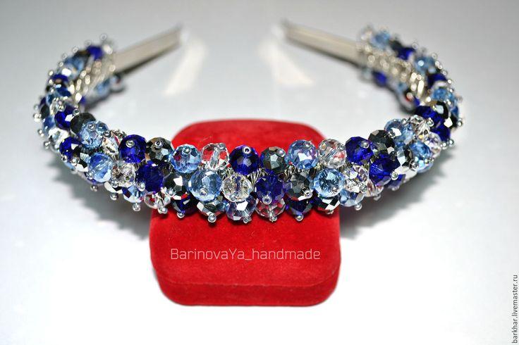 Купить Ободок из бусин - тёмно-синий, белый, голубой, ободок купит, ободок для волос