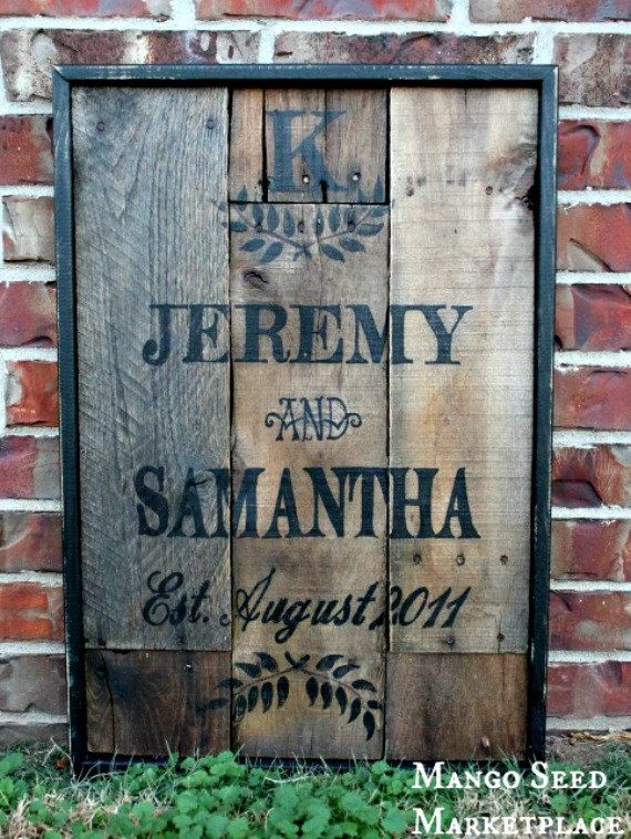 PERSONALIZED Wedding/Anniversary Pallet Sign. $65.00, via Etsy.