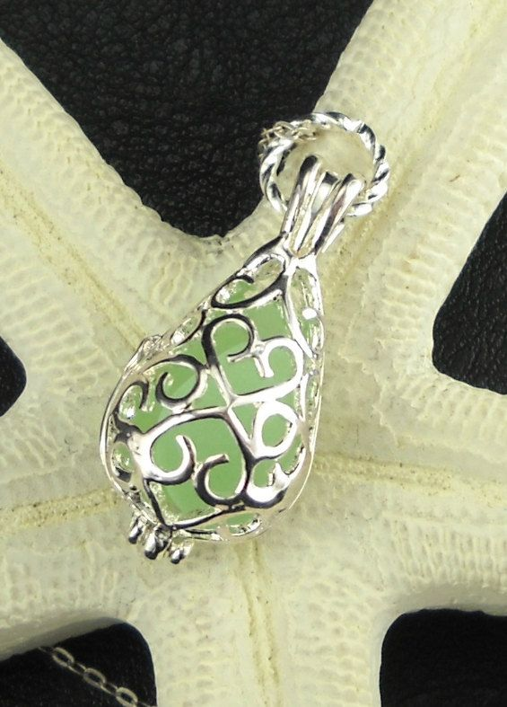 GENUINE Sea Foam Sea Glass Locket Necklace by seaglassgems4you, $22.00