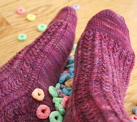 Froot loop sock - Spring 2008 - Knitty.  My first pair of socks I'm working on.  Everything is easy so far!