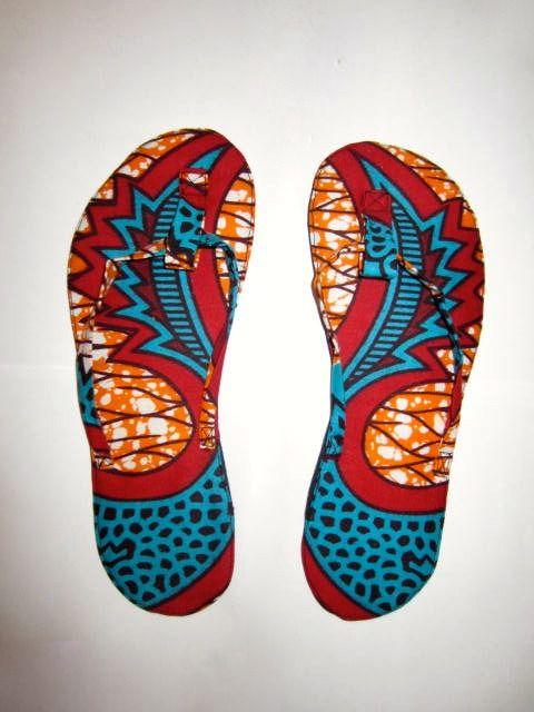Tong tissu Wax motif africain turquoise rouge et orange (envoi 0€) : Chaussures par cewax