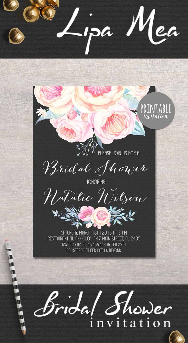 Floral Bridal Shower Invitation Printable, Peony Bridal Shower Invitation, Spring Summer Bridal Shower Invitations, Printable Bridal Shower Black & Pink - pinned by pin4etsy.com