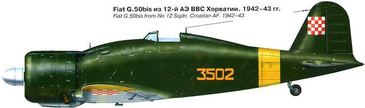 Fiat G.50 was the first relatively modern fighter aircraft available to the ZNDH in reasonable numbers. Some were still in service in 1945.
