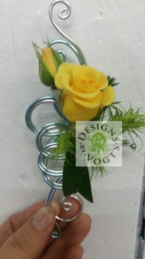 Oasis aluminum wire loops Prom Boutonniere. Yellow spray ...