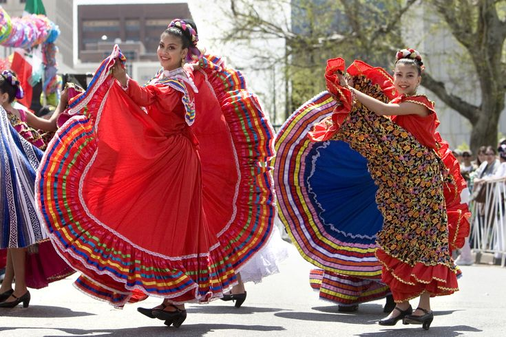 Traditional Mexican Dancers Display Colorful Dresses
