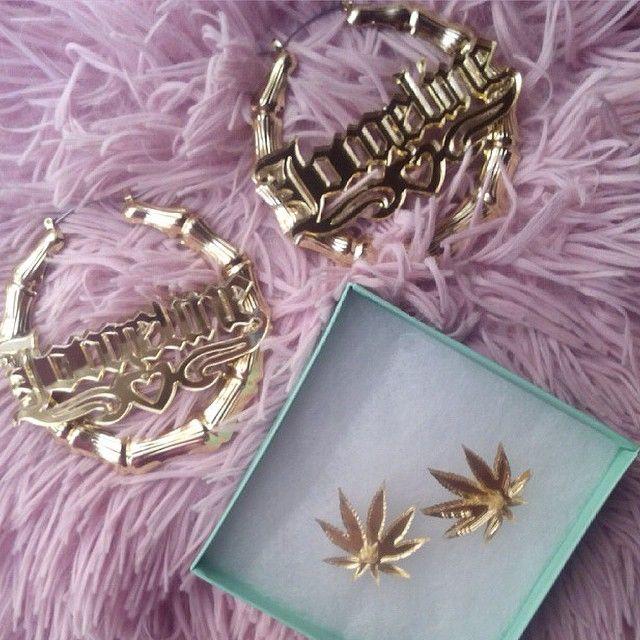 Custom Gold Hoop Earrings Weed Studs Honeybgold Jewellery ...