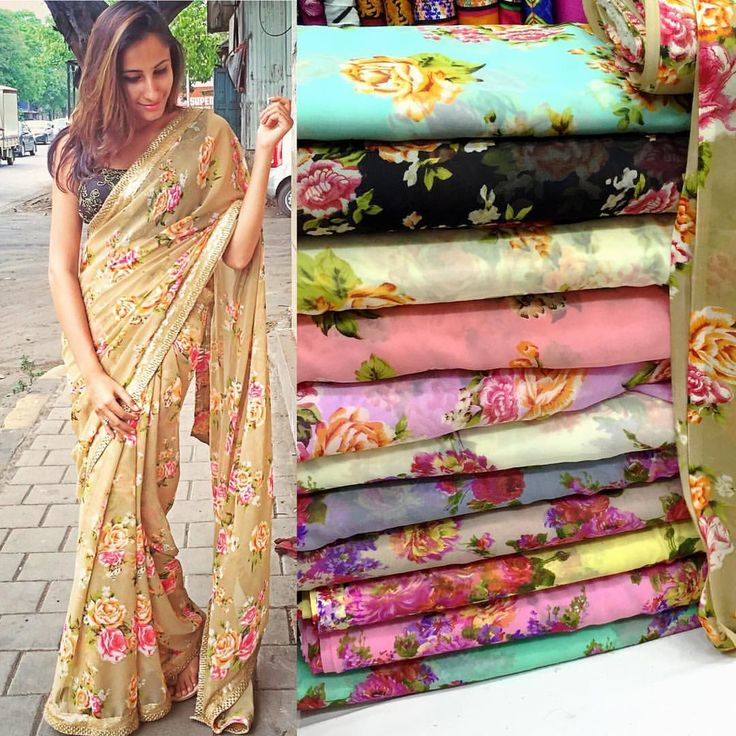 Floral georgette saree available in multiple colour option pick your favorite…