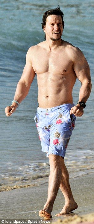 Buff beach body: Mark had on another pair of Vilebrequin shorts