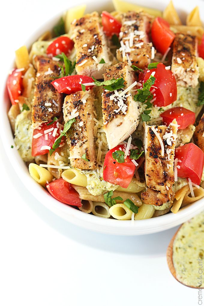 Creamy Pesto Chicken Pasta - Tender noodles and juicy Italian-seasoned chicken breast are tossed with an easy 5-minute creamy pesto sauce!