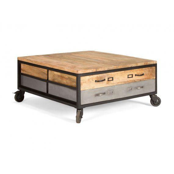 Konferenční stolek masivní dřevo s kolečky Edgar